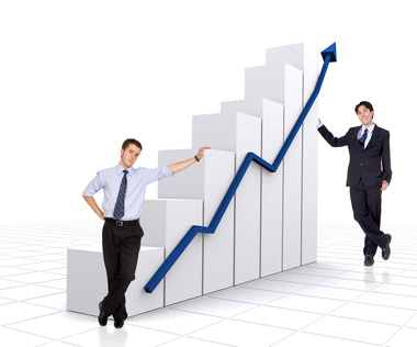 business growth and success chart with business me